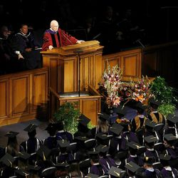 Elder Dallin H. Oaks gives the Commencement Address during Spring Commencement Exercises at BYU Thursday, April 19, 2012 in the Marriott Center.