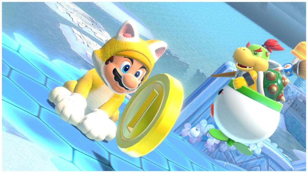 Mario wears a cat suit while Bowser Jr. looks longingly at his frenemy. A beautiful gold coin lingers in the foreground, ignored by the duo, in Super Mario 3D World + Bowser's Fury