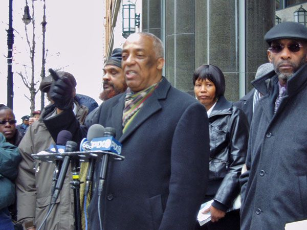 City Councilman Charles Barron criticized Chancellor Cathie Black for failing to condemn a video posted by Stuyvesant High School students that used racial slurs. To Barron's right is Veronica Celestin, the mother of a Stuyvesant student.