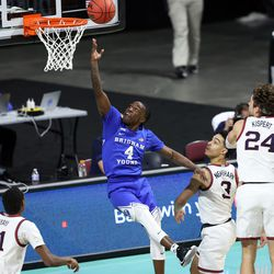 Brigham Young Cougars guard Brandon Averette (4) lays up a shot as BYU and Gonzaga play in the finals of the West Coast Conference tournament at the Orleans Arena in Las Vegas on Tuesday, March 9, 2021. Gonzaga won 88-78.