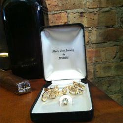 Vintage gold- plated revolver cufflinks and collar stud by Humble Collective, $80