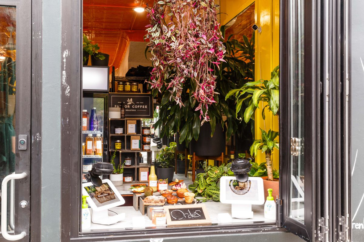A storefront with kiosks for self-ordering with plants hanging from the ceiling and wall