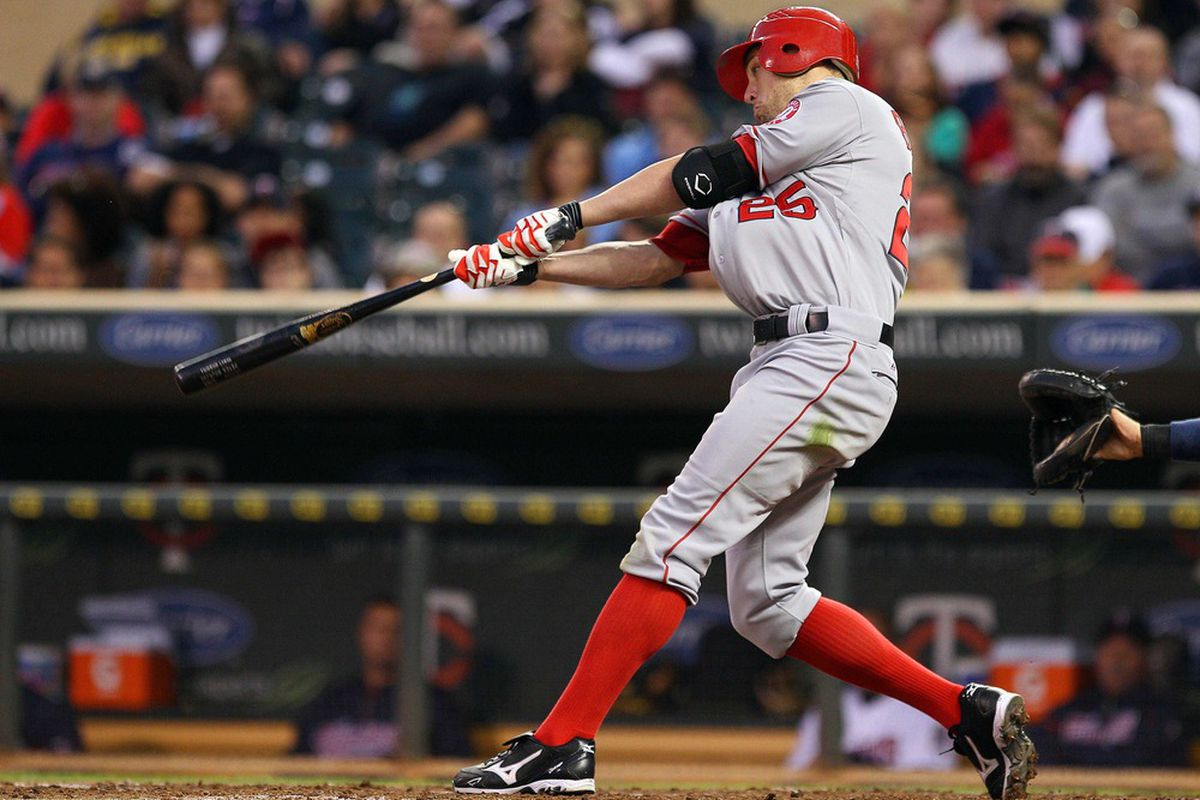 Don't blame Peter Bourjos for not being Mike Trout. Blame Mike Trout for being a super hero.