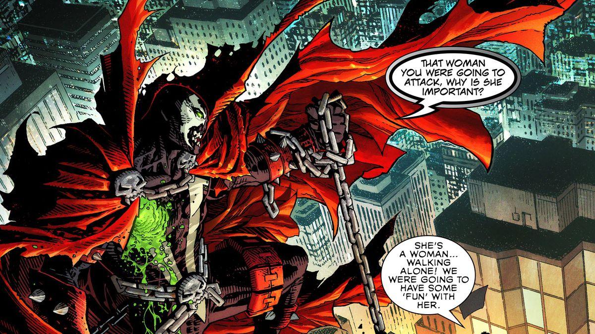 Spawn hangs some ne'er-do-wells off a gargoyle in Spawn's Universe #1 (2021).