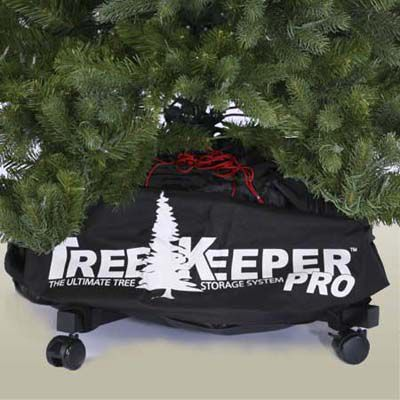 Tree keepers rolling case placed under an artificial Christmas tree.