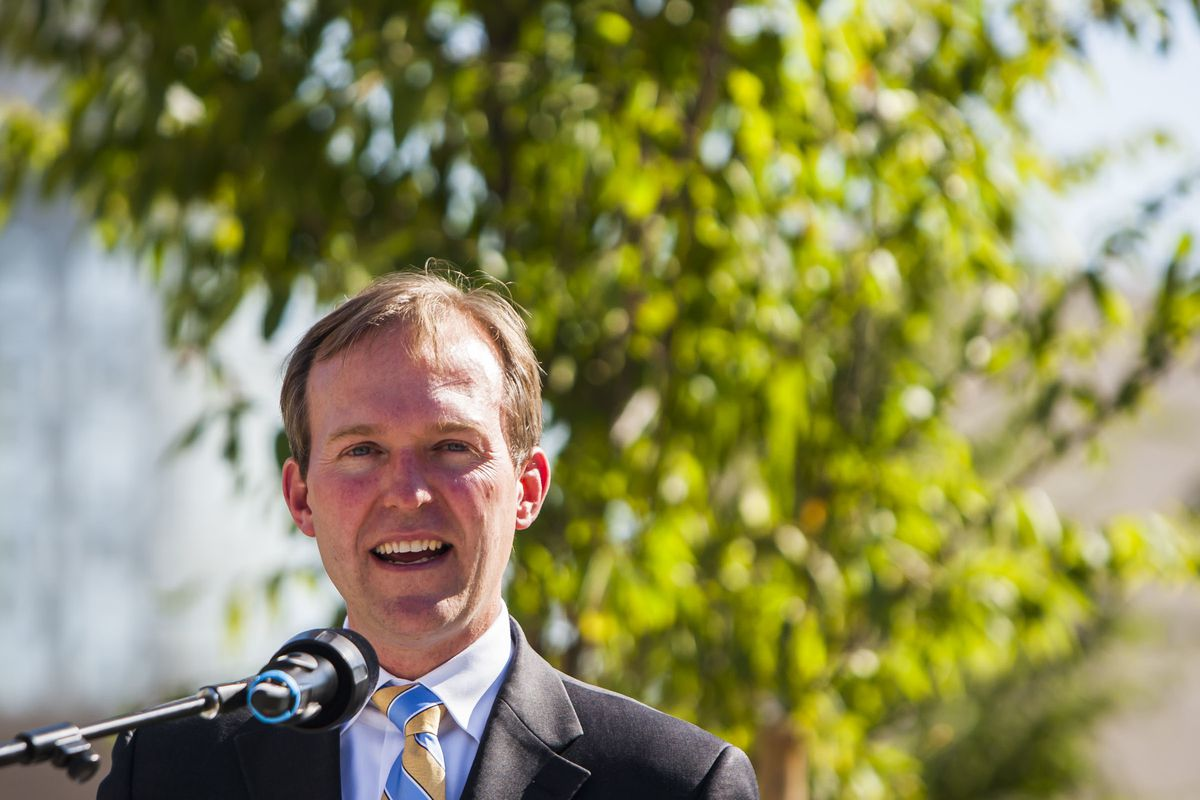 FILE - Mayor Ben McAdams speaks before the ribbon cutting ceremony for the new Abravanel Hall Plaza in Salt Lake City on Wednesday, Sept. 9, 2015.