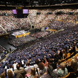 The Marriott Center is packed for BYU Spring 2014 Commencement exercises in Provo Thursday, April 24, 2014.