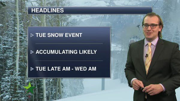 Morning forecast: Mostly cloudy, high 40; snow Tuesday