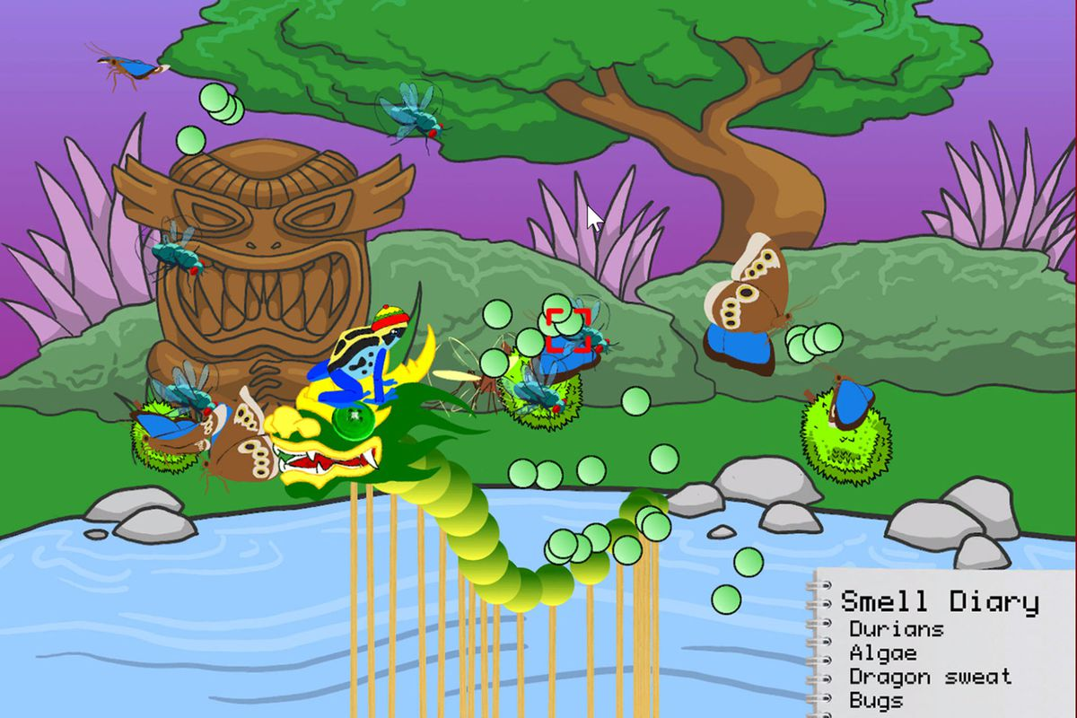 A dragon rises from the pond, or something, in Frog Fractions: Game of the Decade Edition DLC Hop'sHat.