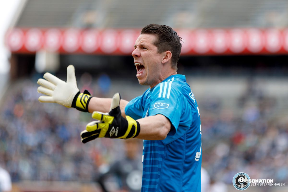 May 12, 2018 - Minneapolis, Minnesota, United States - Minnesota United goalkeeper Bobby Shuttleworth (33) shouts during the match against the San Jose Earthquakes at TCF Bank Stadium.