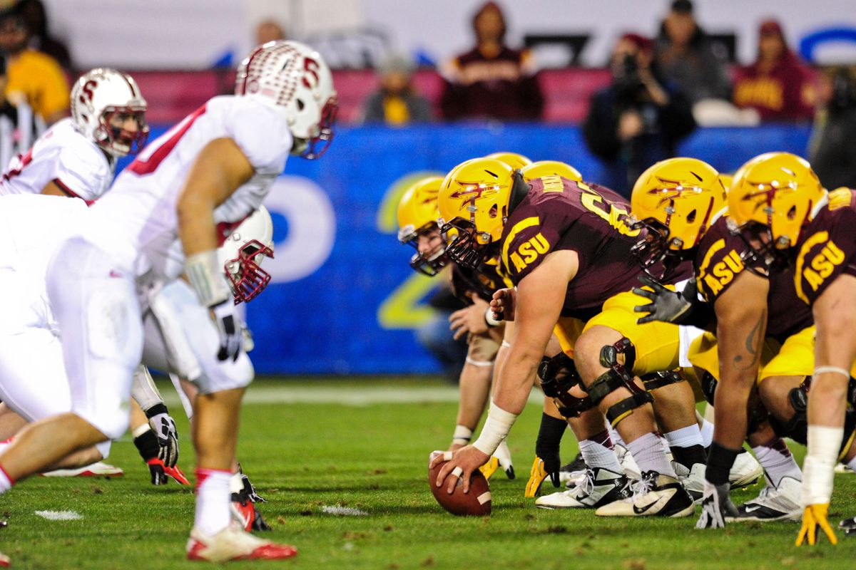 The ASU offense awaits the snap in last year's PAC-12 Championship game