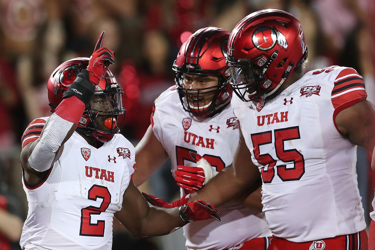 Utah Utes running back Zack Moss (2) celebrates with teammates after scoring a touchdown as Utah and Stanford play a football game in Palo Alto California on Saturday, Oct. 6, 2018.
