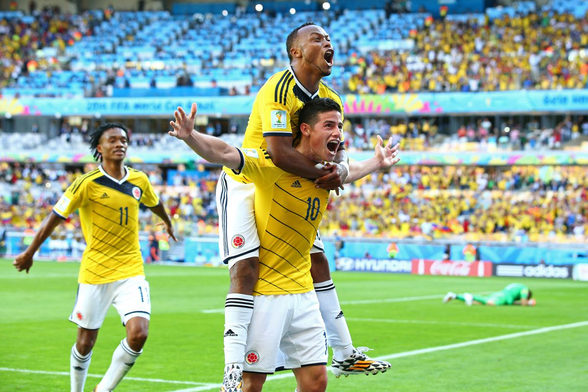 James Rodriguez (10) provides the playmaking threat up front for Colombia