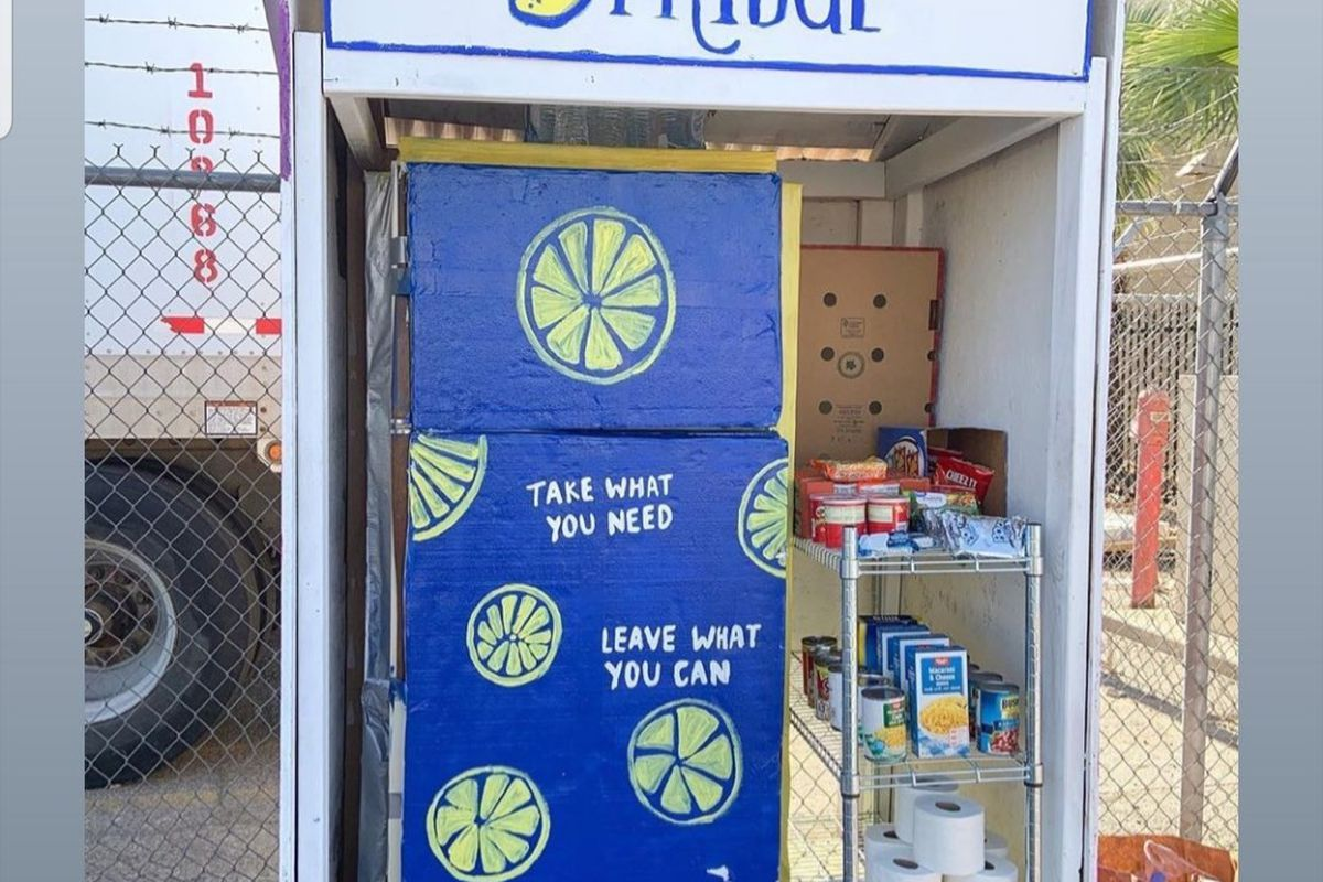 A blue refrigerator