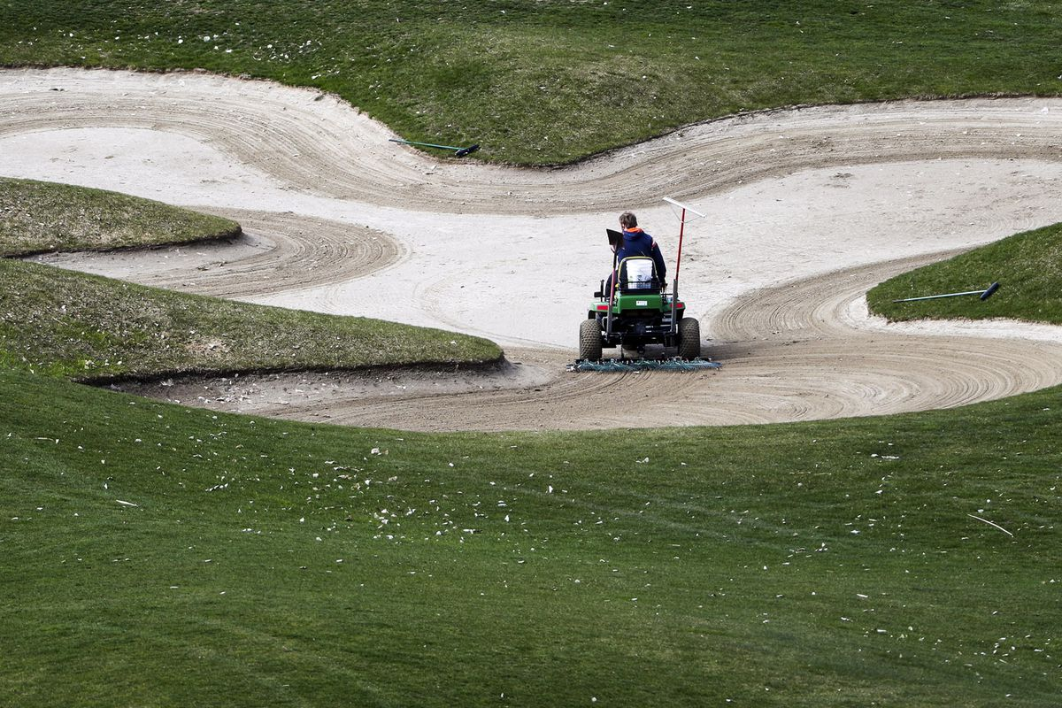 The sand traps are raked at Old Mill Golf Course in Holladay on Wednesday, March 27, 2019. Temperatures reached the high 60s along the Wasatch Front, ahead of a cold front moving in by the weekend, forecasters say.