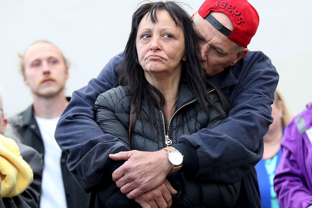 John Cornish hugs his wife Gina Salazar at a vigil for Cami Shepherd in West Valley City on Monday, April 16, 2018.