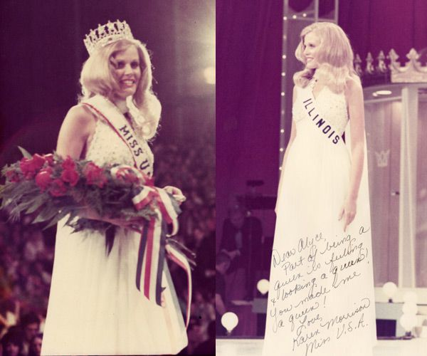 <small><strong>Karen Morrison, Miss USA 1974, wrote a note to Alyce Hamm on a picture from the pageant. | Sun-Times Media</strong></small>