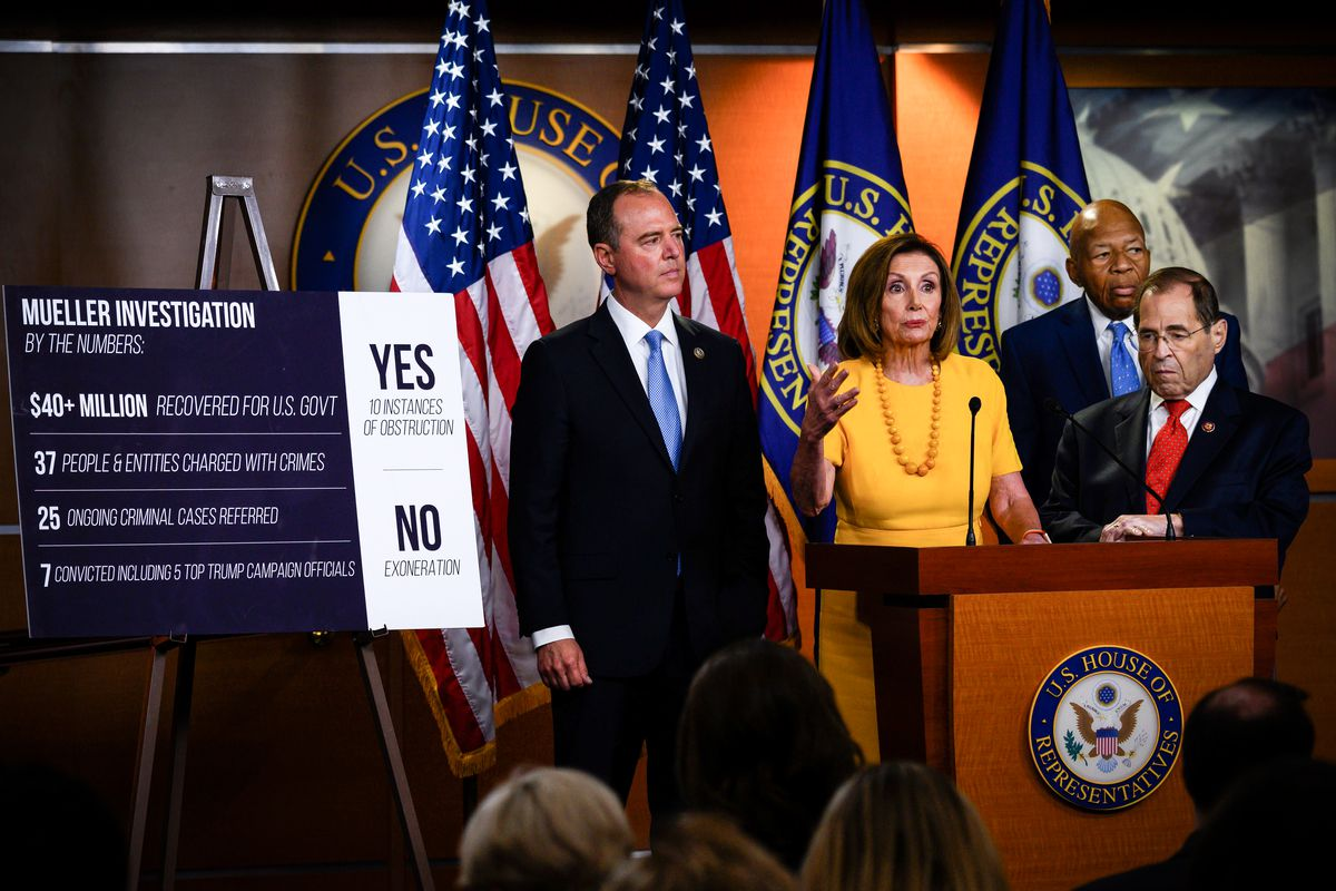 House Speaker Nancy Pelosi (D-CA), flanked by (from left) House Intelligence Committee Chairman Rep. Adam Schiff (D-CA), Rep. Elijah Cummings (D-MD) and Chairman of the House Oversight and Reform Committee and Chairman of the House Judiciary Committee Rep
