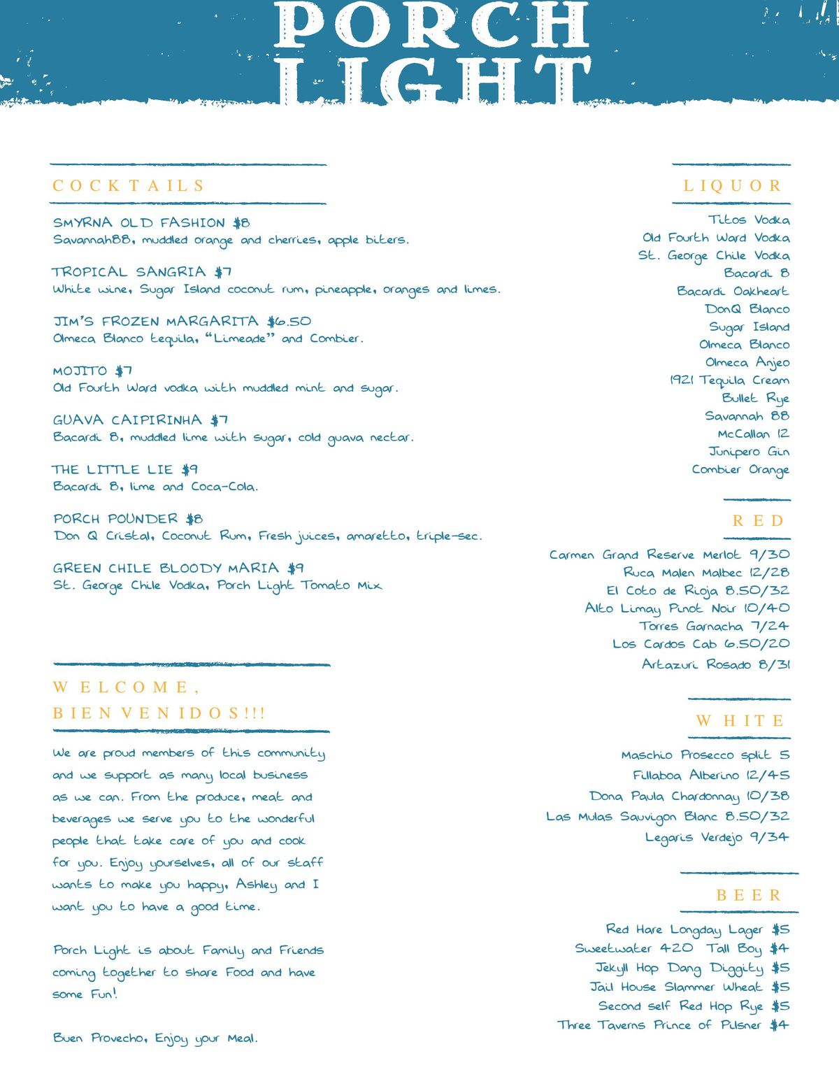 Here S The Menu For Porch Light Latin Kitchen Now Open In Smyrna Eater Atlanta