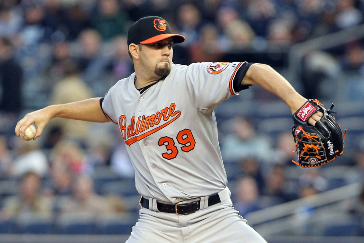Jason Hammel's two-seam fastball has gotten him off to a great start for the Orioles. Will the rain let him try to continue his run of success tonight? Mandatory Credit: Anthony Gruppuso-US PRESSWIRE