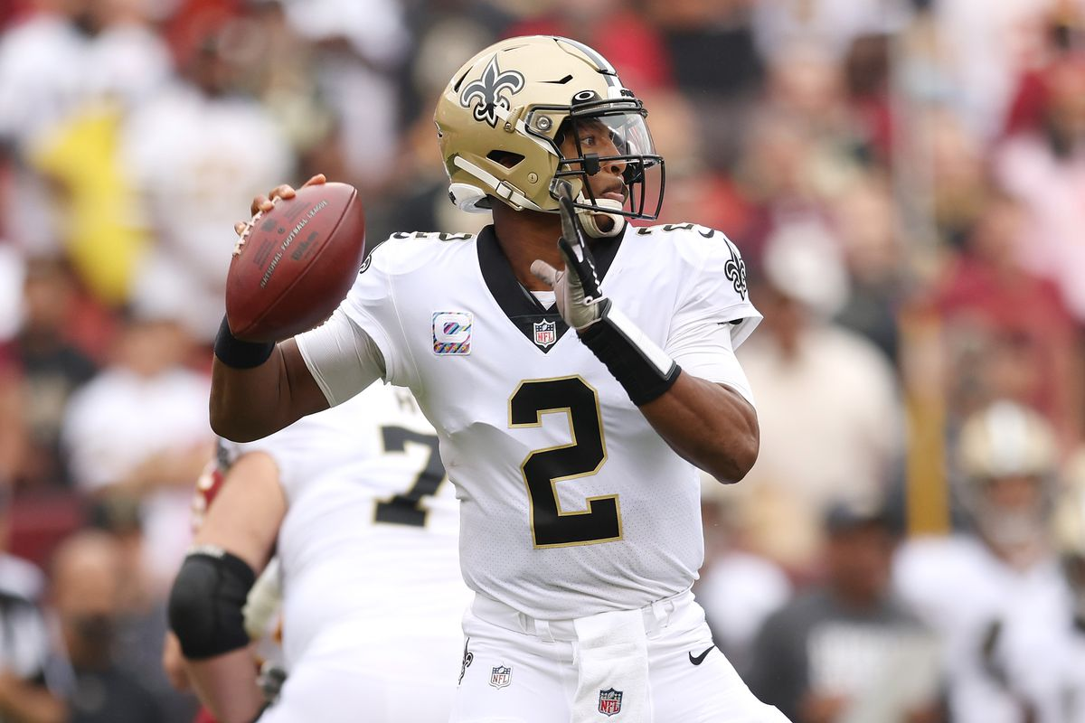 Jameis Winston #2 of the New Orleans Saints throws the ball during the first half against the Washington Football Team at FedExField on October 10, 2021 in Landover, Maryland.