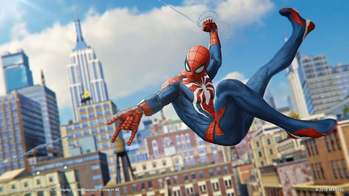 Marvel's Spider-Man - Spidey swinging with the Empire State Building in the background