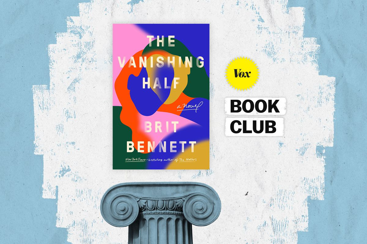 An illustration of The Vanishing Half cover and the Vox Book Club logo