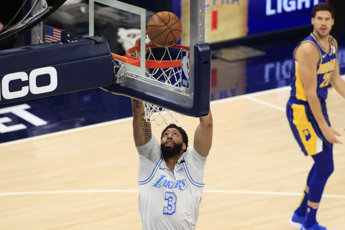 Anthony Davis of the Los Angeles Lakers dunks the ball in the game against the Indiana Pacers during the third quarter at Bankers Life Fieldhouse on May 15, 2021 in Indianapolis, Indiana.