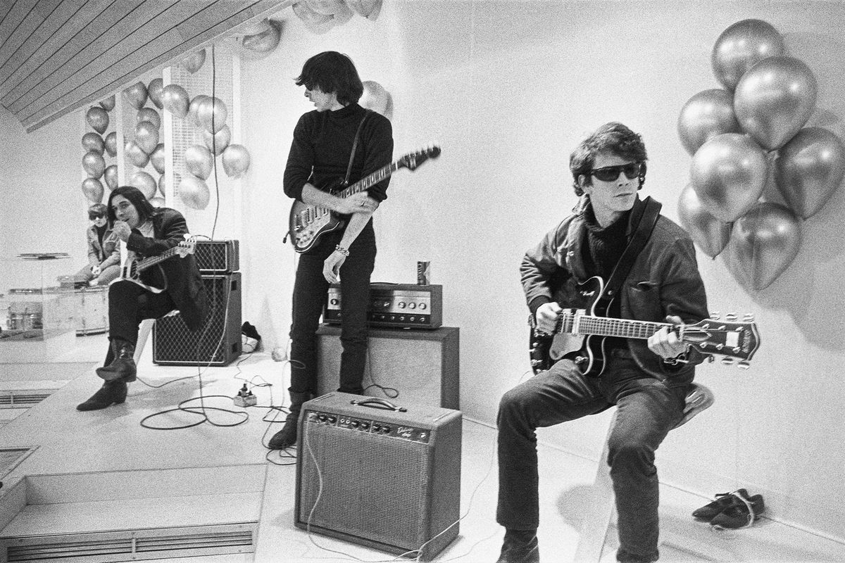 """This image released by Apple TV+ shows Moe Tucker (from left), John Cale, Sterling Morrison and Lou Reed from the documentary """"The Velvet Underground."""""""