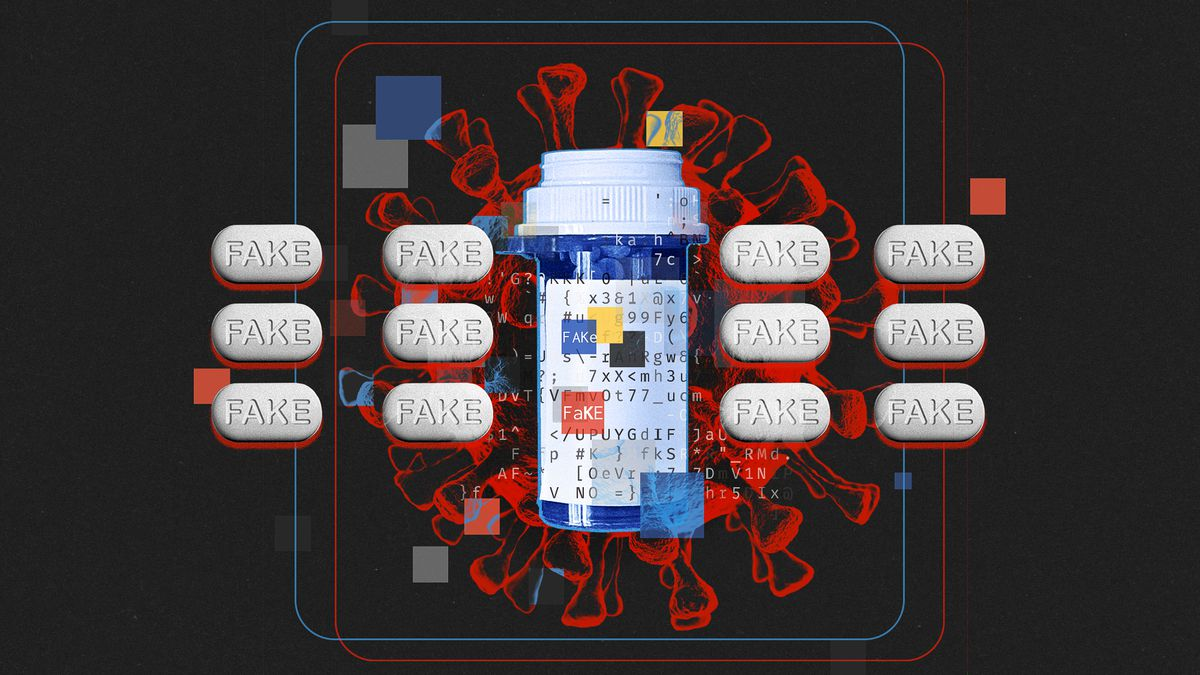 """Illustration featuring pills with the word """"FAKE,"""" a blue pill bottle and a Corona-19 virus in the background"""