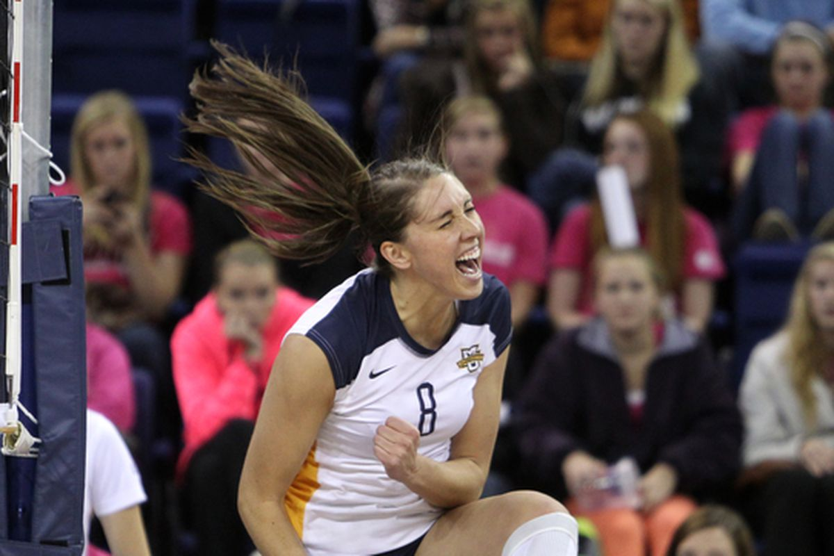 Danielle Carlson was one of three Golden Eagles with 10+ kills against Northern Illinois.