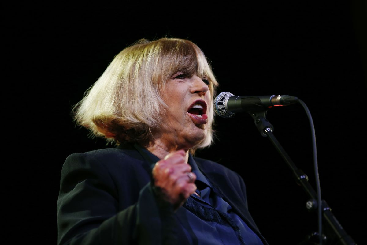 British singer Marianne Faithfull performs in 2015 in Paris, as part of a benefit concert for HIV-AIDS research.