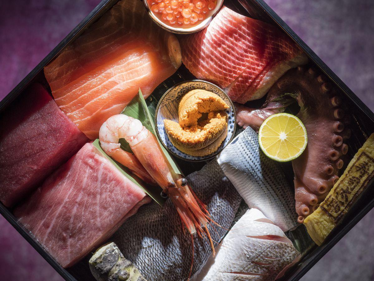 A sampler box from Sushi Taro