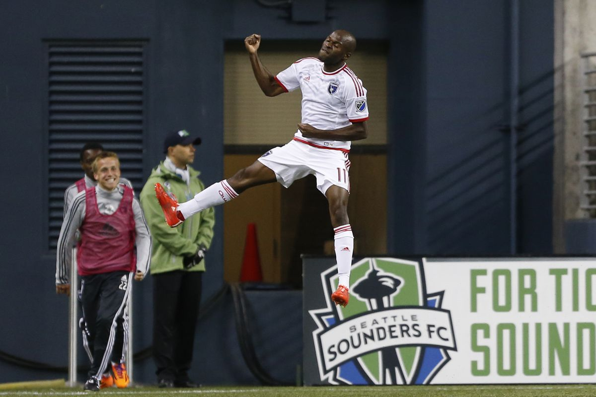 Innocent Emeghara rides an invisible laundry line back to midfield after his goal against the Seattle Sounders.