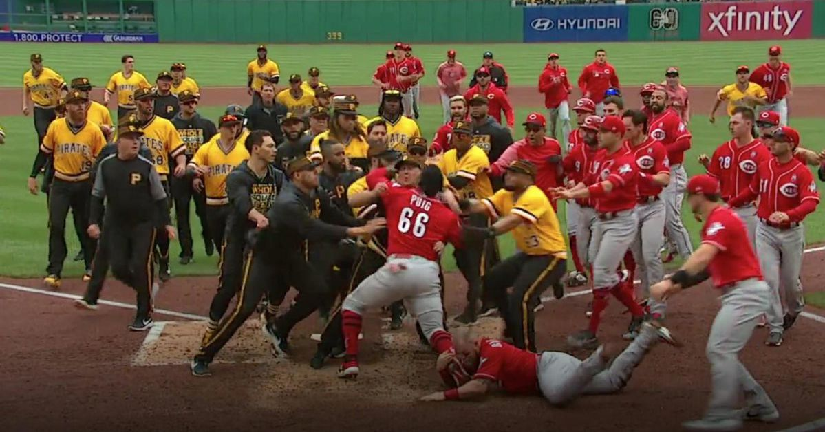 Yasiel Puig tried to fight the entire Pirates team during a bench-clearing brawl