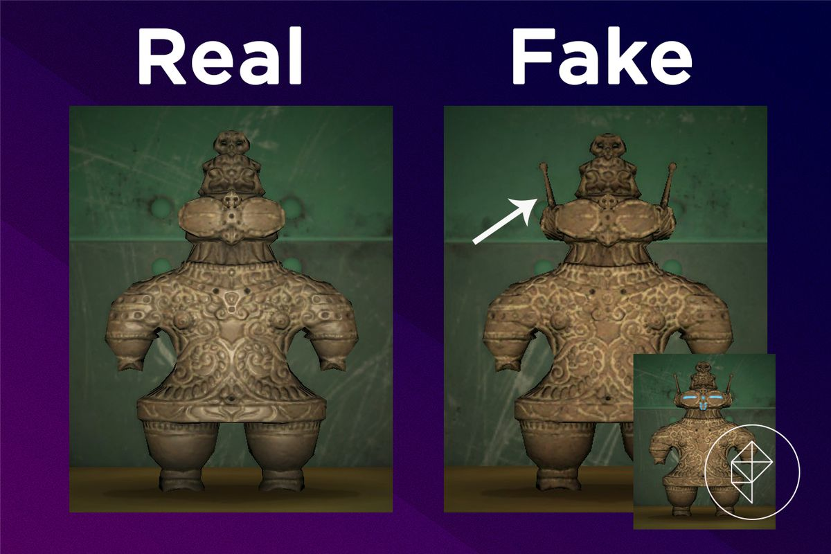A comparison between the real and fake Ancient Statue