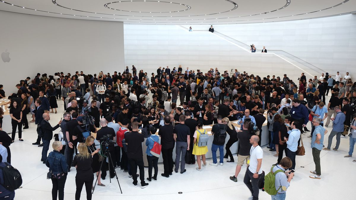 A crowd of people entering the Steve Jobs Theater at Apple Park for the iPhone X event on Sept. 12, 2017