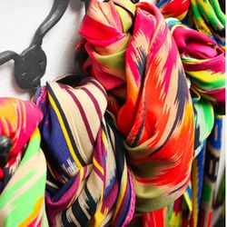 "<a href=""http://www.lavivahome.com""><b>L'aviva Home</b></a> scarves from Uzbekistan"