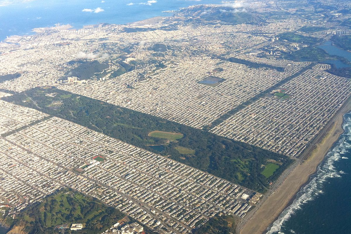 An aerial photo of San Francisco's west side, with Golden Gate Park as a long, rectangular strip of green in the center.