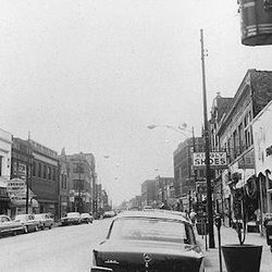 A view down Clark Street in Andersonville in the 1950's.   Provided by the Edgewater Historical Society.