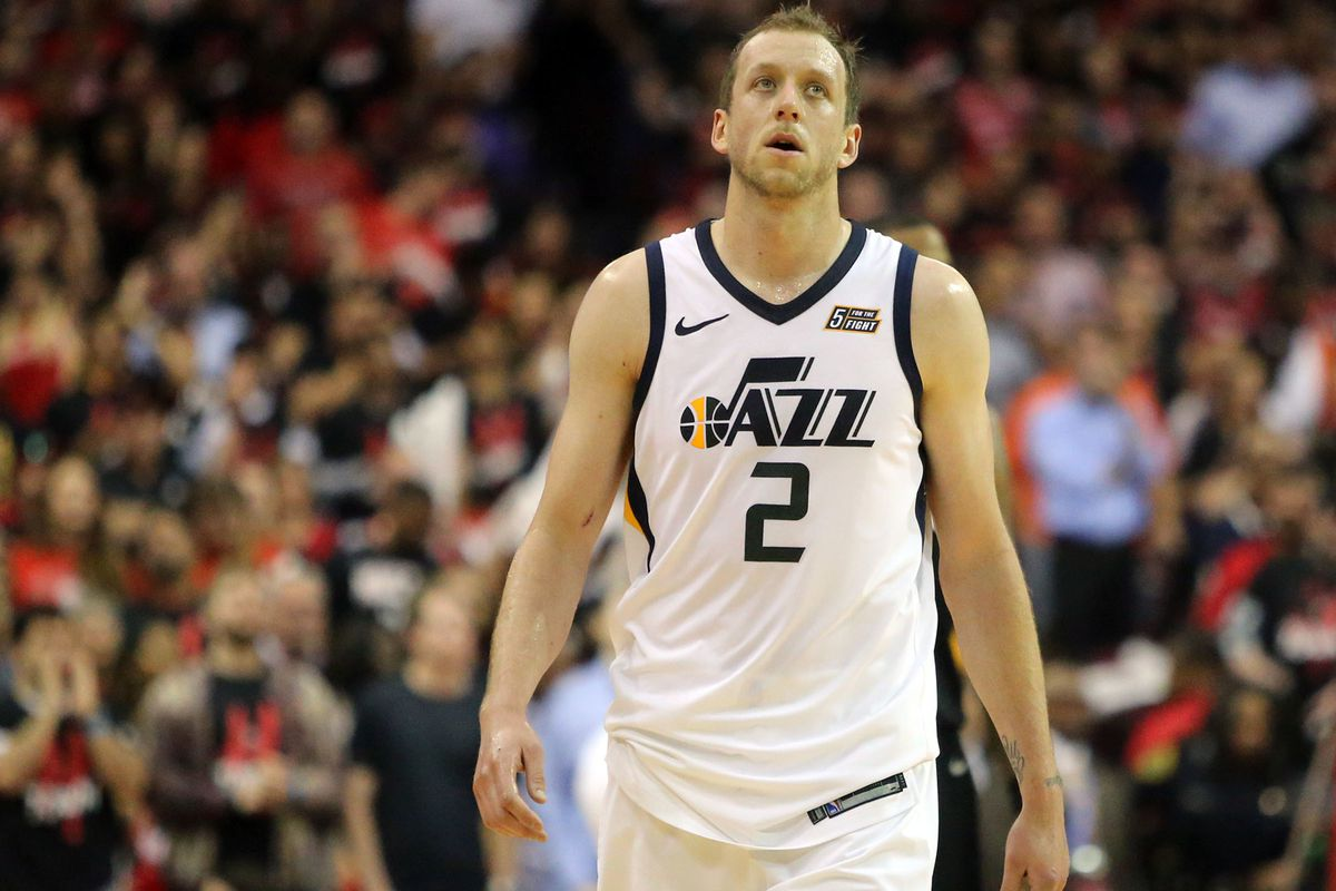 Utah Jazz forward Joe Ingles (2) reacts as the Jazz are losing in the last minutes of Game 5 of the NBA playoffs against the Houston Rockets at the Toyota Center in Houston on Tuesday, May 8, 2018. The Jazz lost 102-112.
