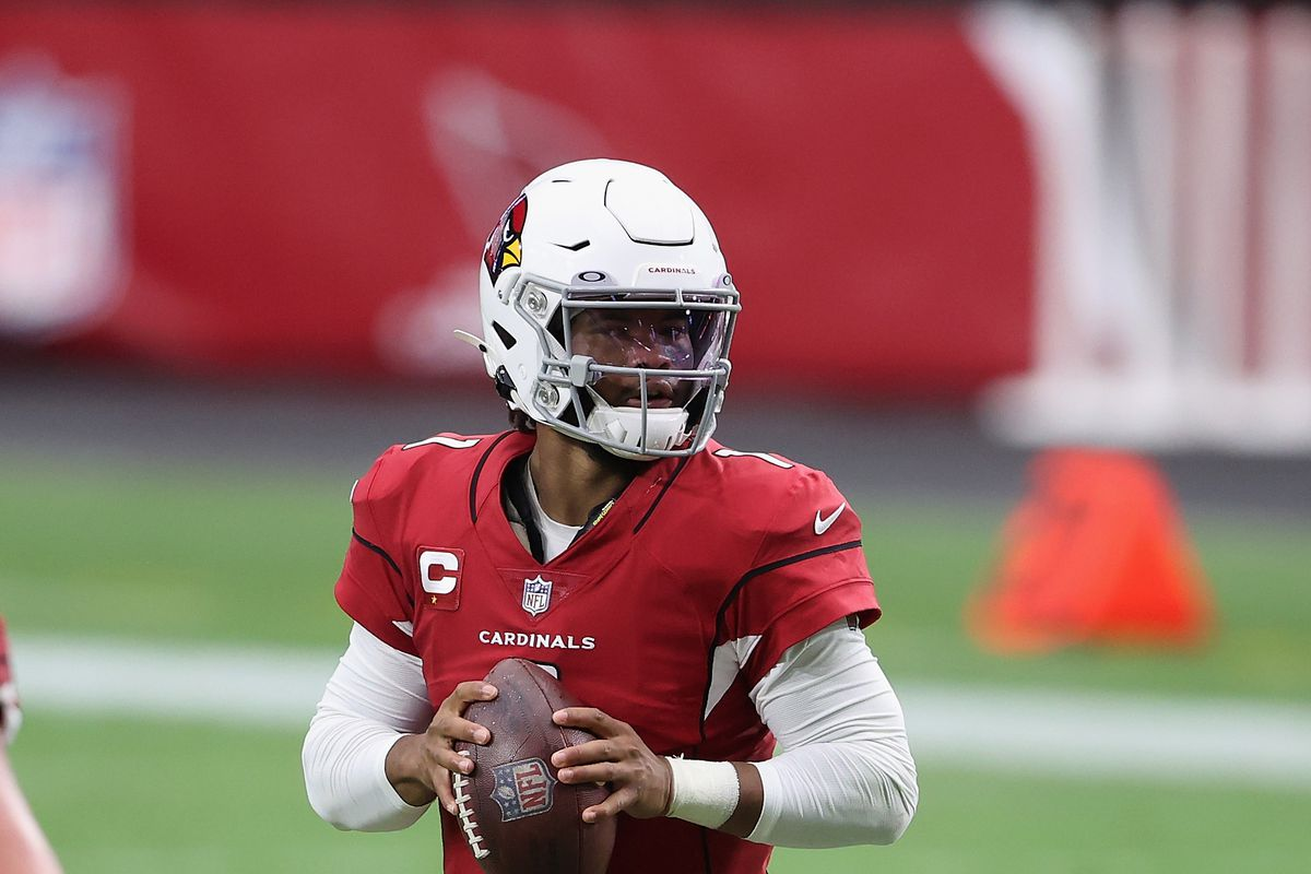 Quarterback Kyler Murray of the Arizona Cardinals drops back to pass during the NFL game against the Washington Football Team at State Farm Stadium on September 20, 2020 in Glendale, Arizona.