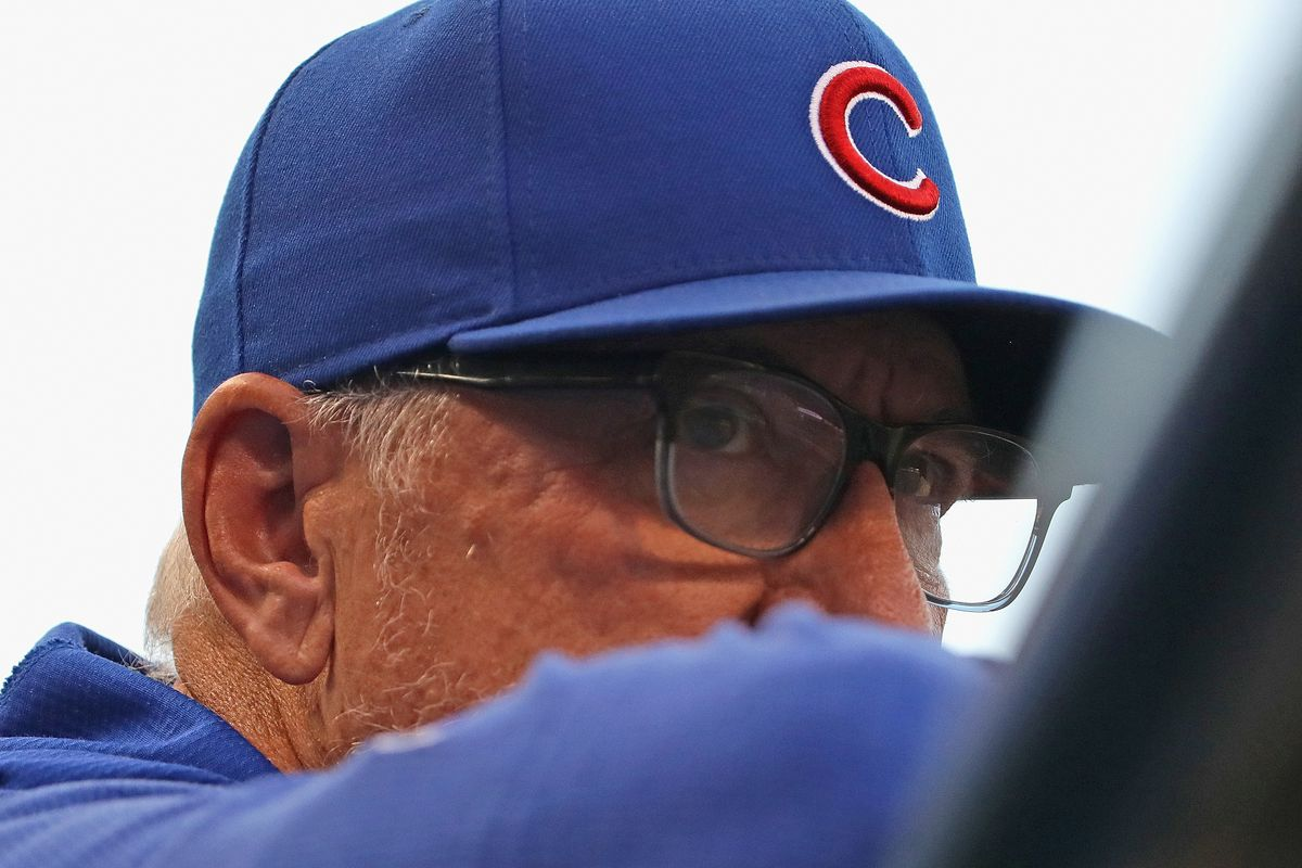 Manager Joe Maddon #70 of the Chicago Cubs watches as his team takes on the Atlanta Braves at Wrigley Field on June 25, 2019 in Chicago, Illinois.