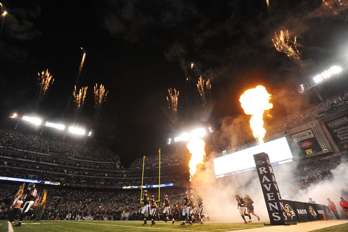 BALTIMORE - NOVEMBER 24:  The Baltimore Ravens take the field before the game against the San Francisco 49ers at M&T Bank Stadium on November 24. 2011 in Baltimore, Maryland. The Ravens defeated the 49ers 16-6. (Photo by Larry French/Getty Images)