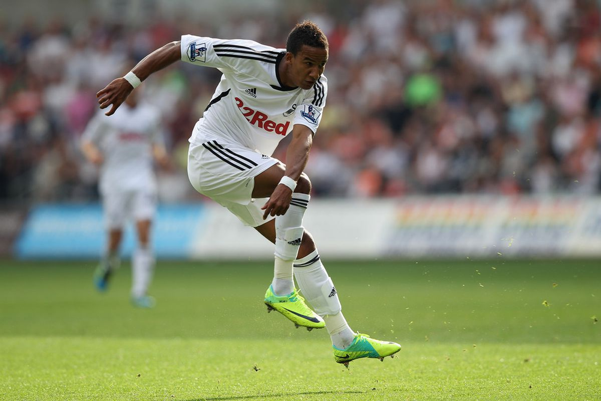 SWANSEA, WALES - OCTOBER 02:  Scott Sinclair of Swansea City  during the Barclays Premier League match between Swansea City and Stoke City at the Liberty Stadium on October 2, 2011 in Swansea, Wales.  (Photo by Michael Steele/Getty Images)