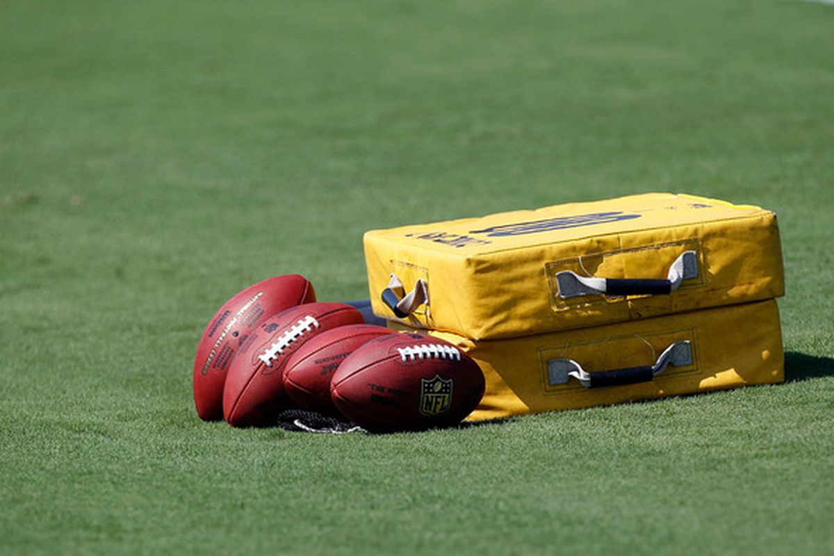 JACKSONVILLE FL - JULY 30:  Equipment rests on the field of the Jacksonville Jaguars during the first day of Training Camp at EverBank Field on July 30 2010 in Jacksonville Florida.  (Photo by Sam Greenwood/Getty Images)