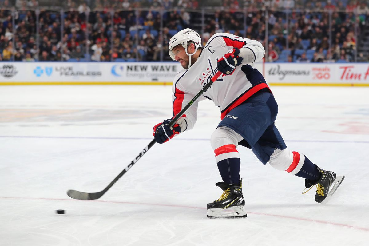 Washington Capitals left wing Alex Ovechkin takes a shot on goal during the first period against the Buffalo Sabres at KeyBank Center.