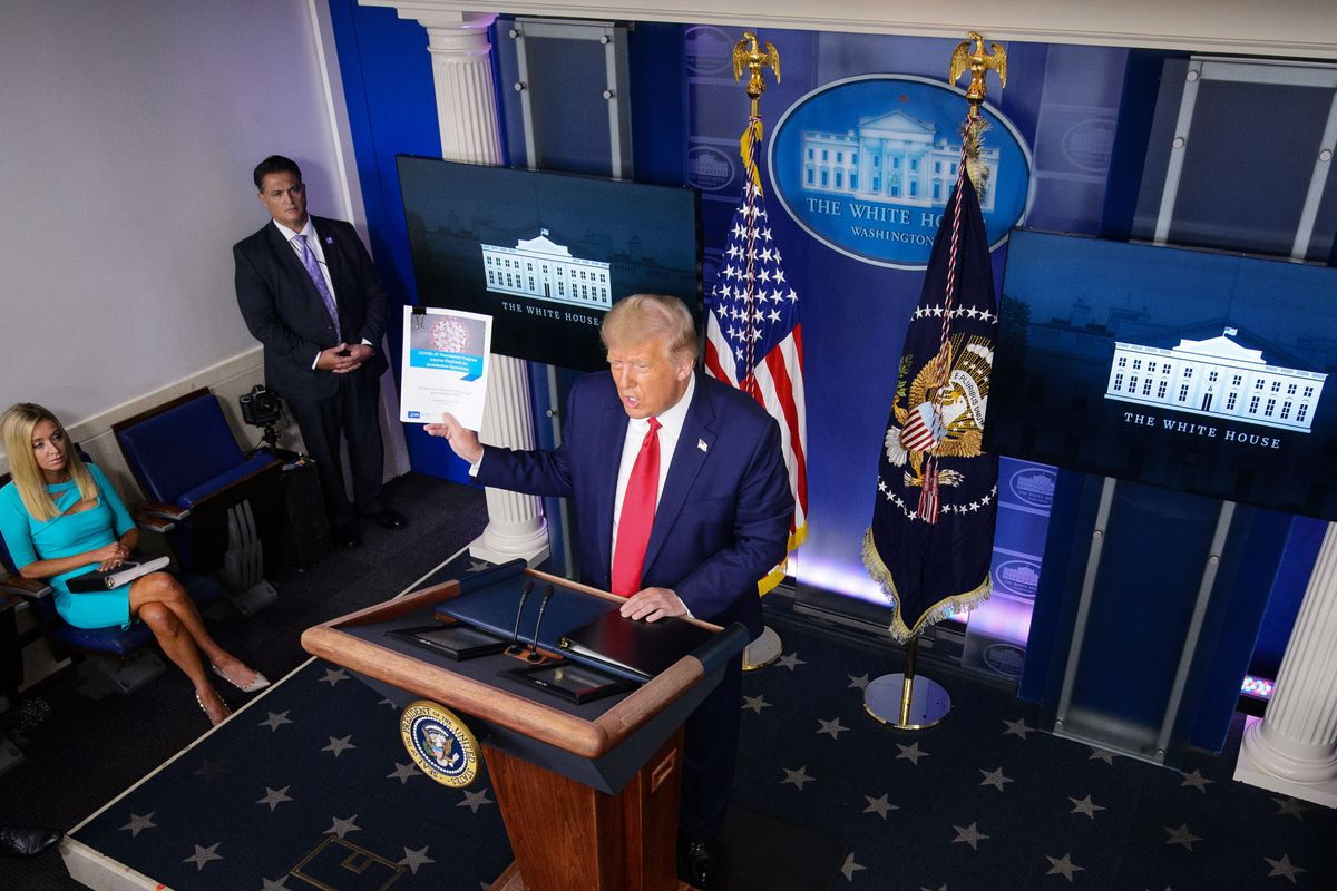 President Trump standing at the podium of a press conference in the Brady Briefing Room of the White House on September 16.