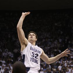 Brigham Young Cougars guard Jimmer Fredette (32) shoots over San Diego State in NCAA basketball action in Provo, Utah, Thursday, Jan. 27, 2011. (Jeffrey D. Allred, Deseret News)
