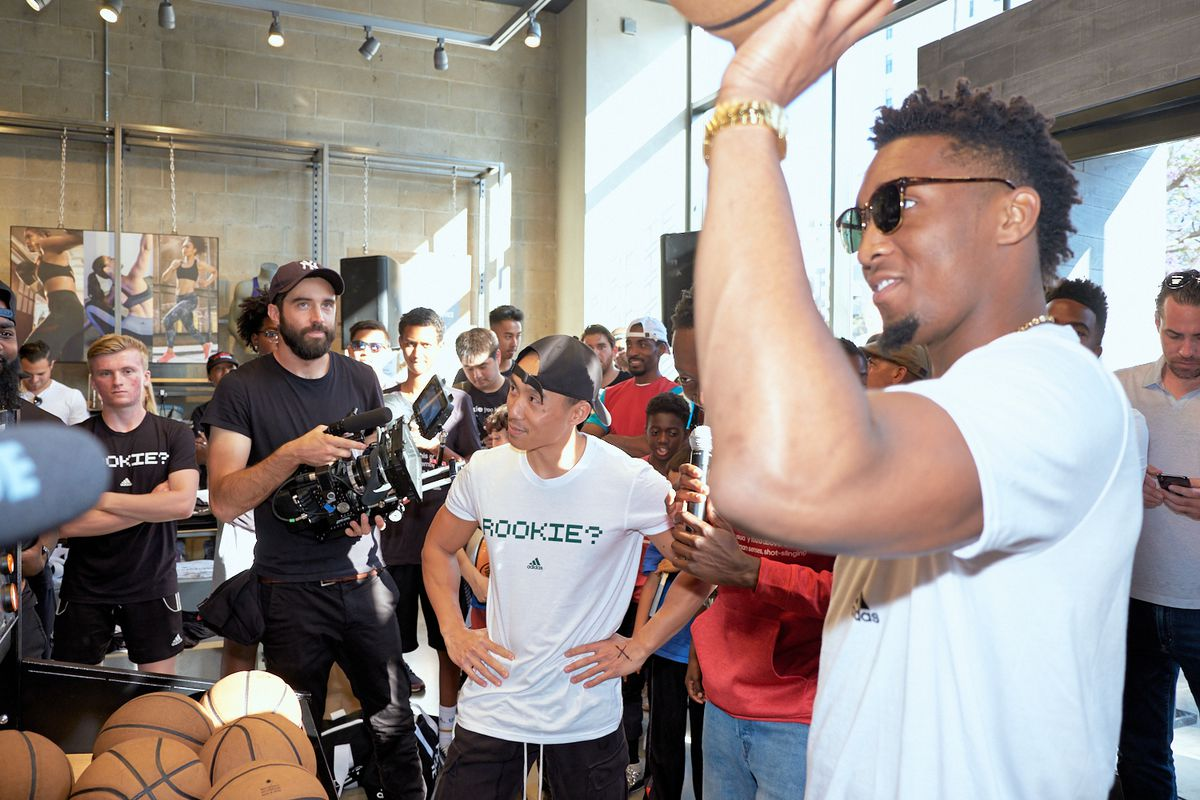 Utah Jazz guard Donovan Mitchell celebrated his rookie season with hundreds of fans at the adidas Sport Performance store in Santa Monica, California on Tuesday, June 26, 2018.